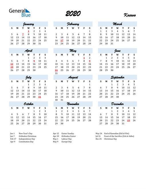 Image of 2020 Calendar in Script for Kosovo