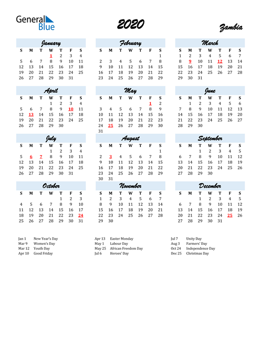 2020 Calendar for Zambia with Holidays