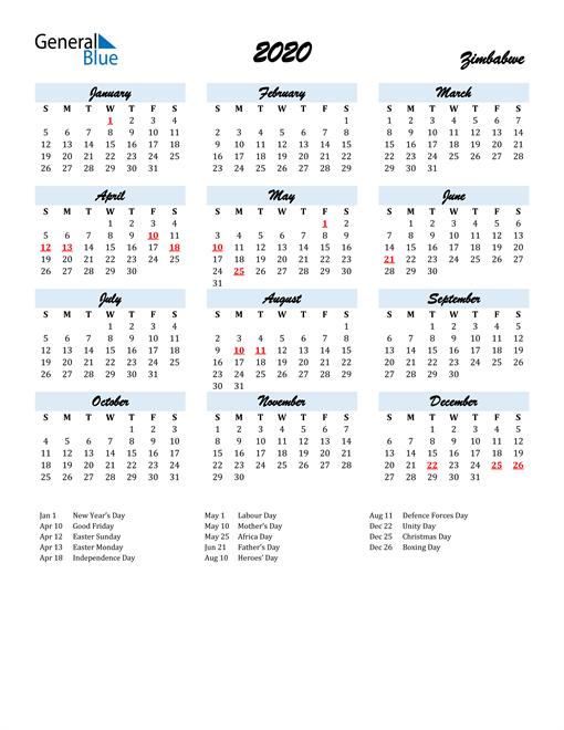2020 Calendar for Zimbabwe with Holidays