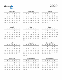 Image of 2020 2020 Printable Calendar Classic