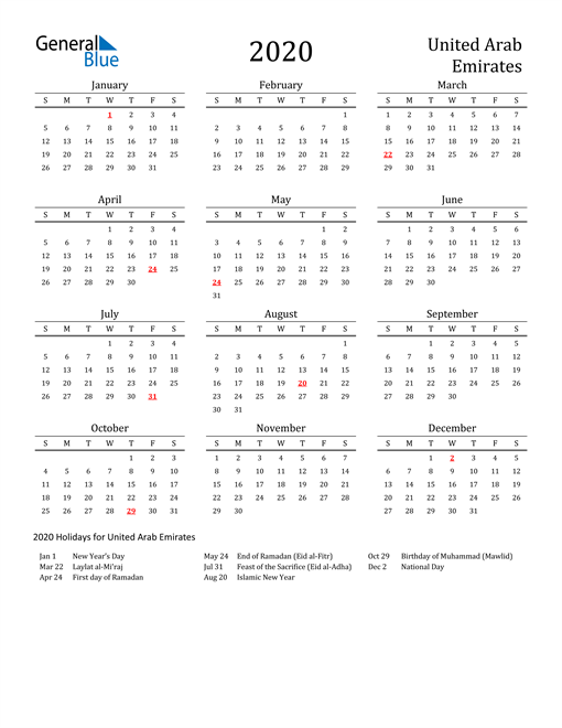 Image of 2020 Printable Calendar Classic for United Arab Emirates with Holidays