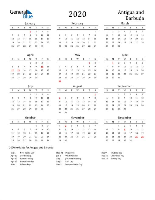 Image of 2020 Printable Calendar Classic for Antigua and Barbuda with Holidays