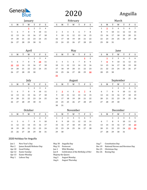 Image of 2020 Printable Calendar Classic for Anguilla with Holidays