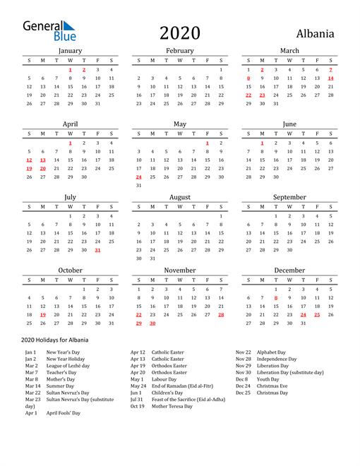 Albania Holidays Calendar for 2020