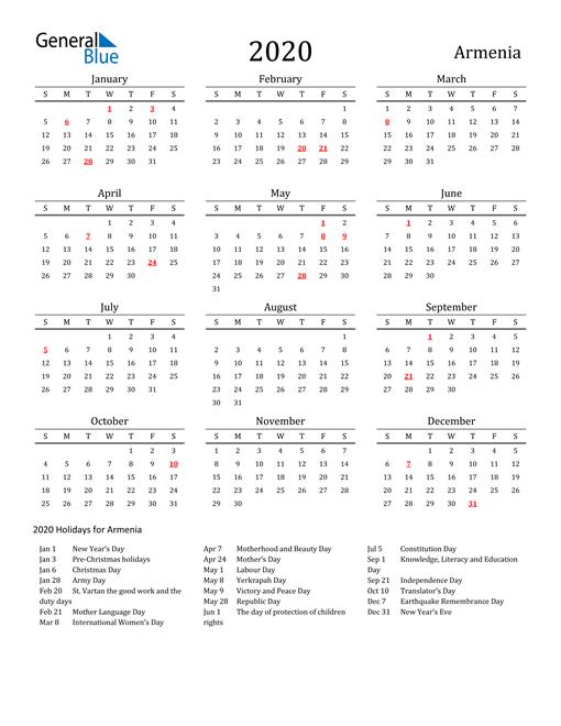 Armenia Holidays Calendar for 2020