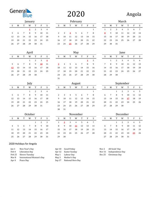 Image of 2020 Printable Calendar Classic for Angola with Holidays