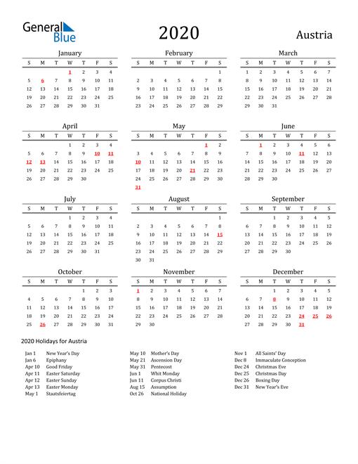 Image of 2020 Printable Calendar Classic for Austria with Holidays
