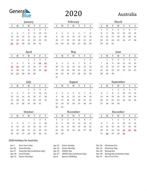 Australia Holidays Calendar for 2020