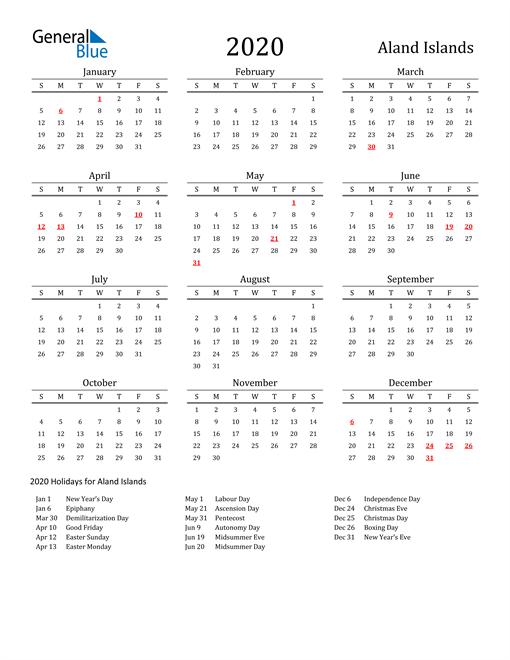 Aland Islands Holidays Calendar for 2020