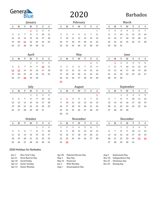 Image of 2020 Printable Calendar Classic for Barbados with Holidays