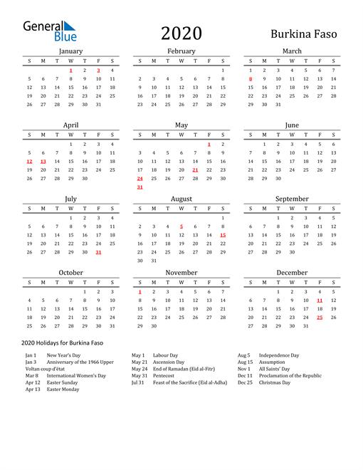 Burkina Faso Holidays Calendar for 2020