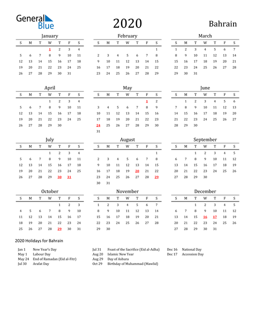 Bahrain Holidays Calendar for 2020