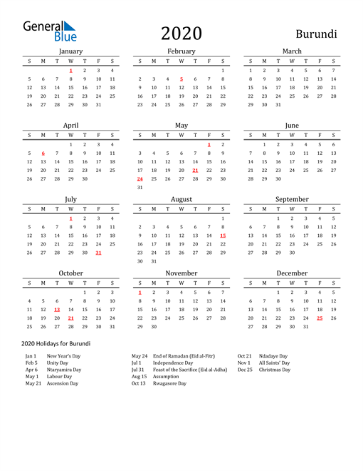 Image of 2020 Printable Calendar Classic for Burundi with Holidays