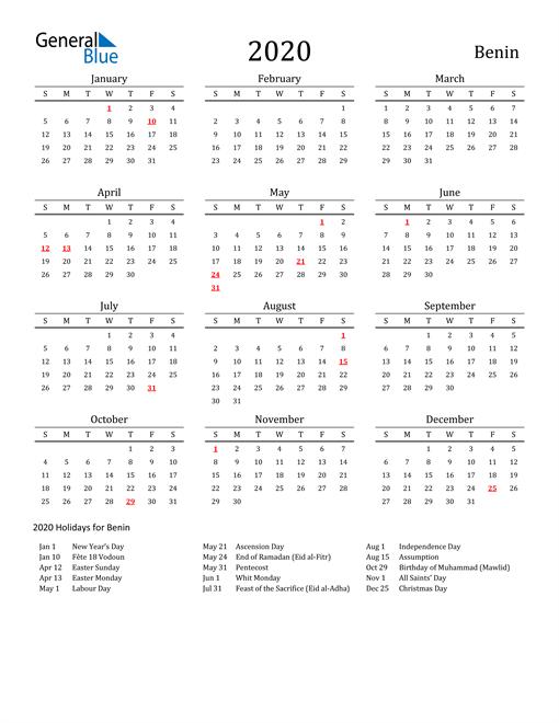 Benin Holidays Calendar for 2020