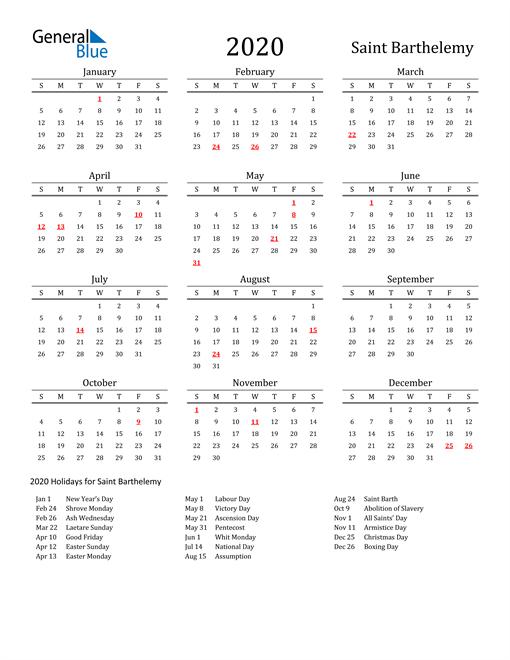 Saint Barthelemy Holidays Calendar for 2020