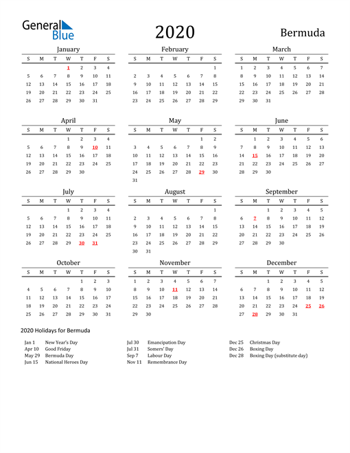Image of 2020 Printable Calendar Classic for Bermuda with Holidays