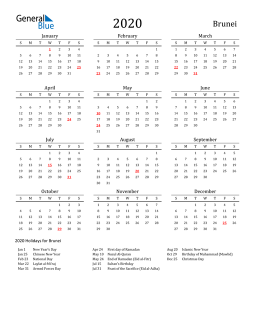 Image of 2020 Printable Calendar Classic for Brunei with Holidays