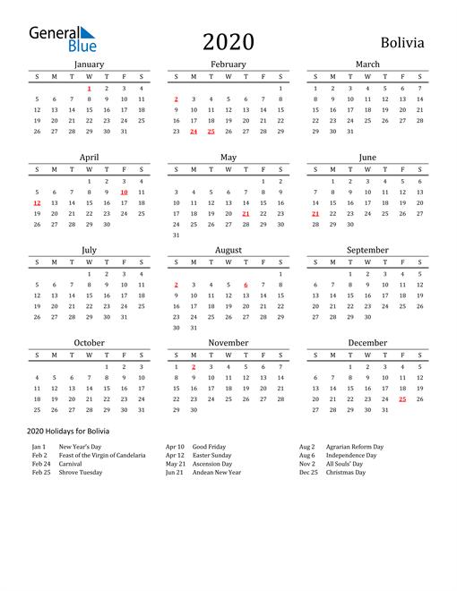 Bolivia Holidays Calendar for 2020