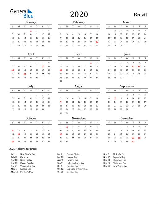 Brazil Holidays Calendar for 2020