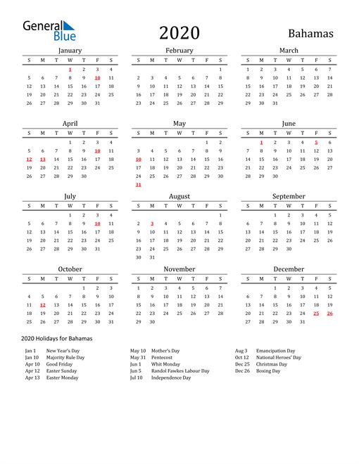 Bahamas Holidays Calendar for 2020