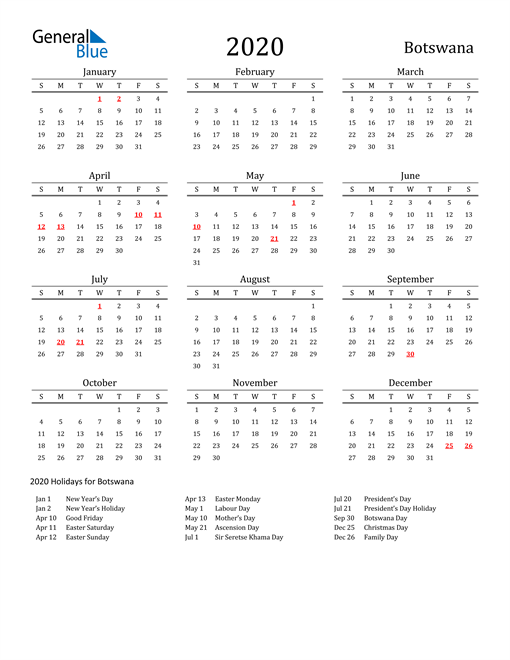 Image of 2020 Printable Calendar Classic for Botswana with Holidays