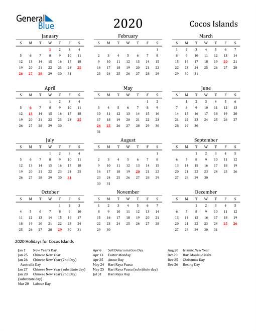 Cocos Islands Holidays Calendar for 2020