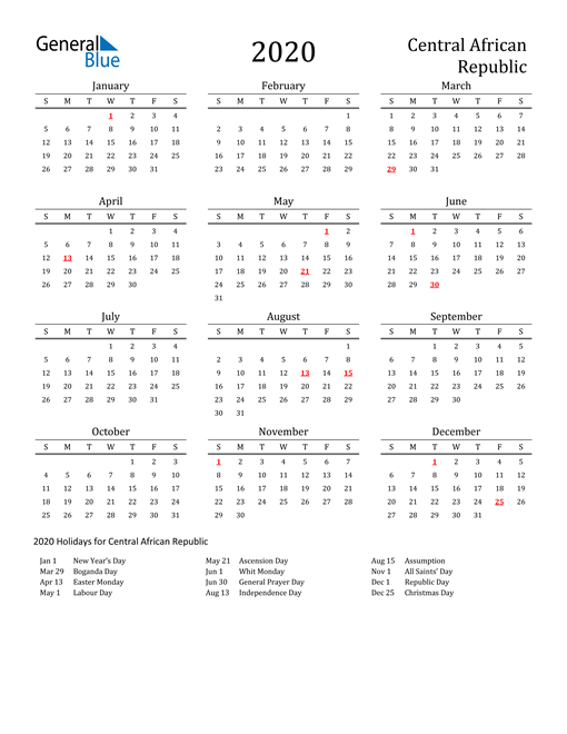 Central African Republic Holidays Calendar for 2020