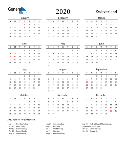 Image of 2020 Printable Calendar Classic for Switzerland with Holidays