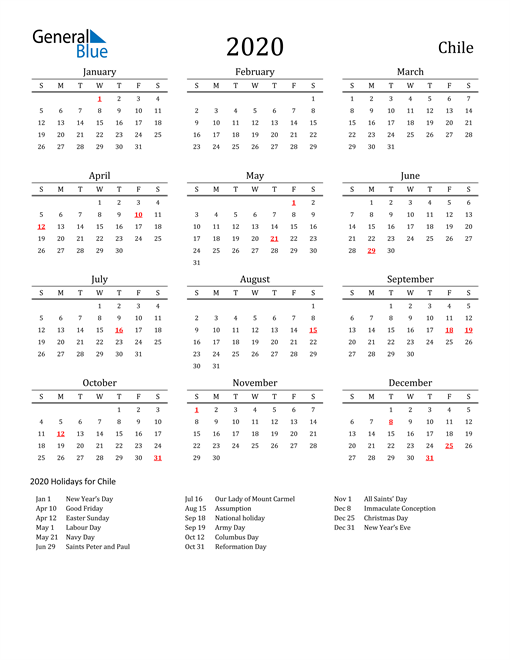 Image of 2020 Printable Calendar Classic for Chile with Holidays