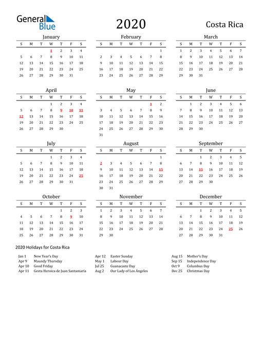 Costa Rica Holidays Calendar for 2020