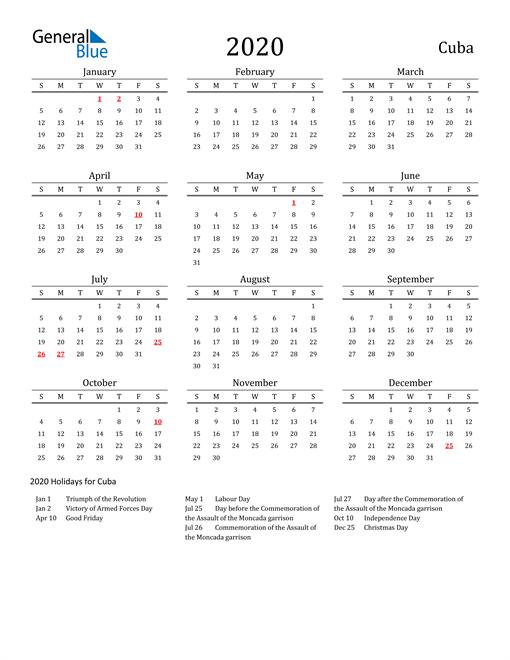 Cuba Holidays Calendar for 2020