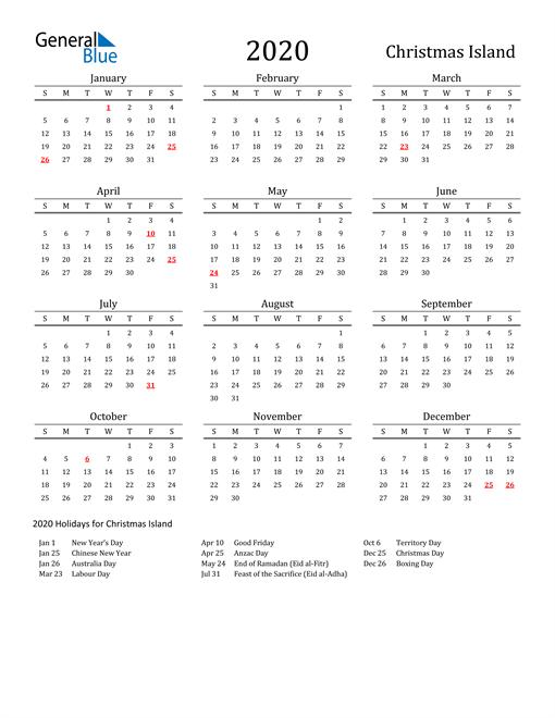 Image of 2020 Printable Calendar Classic for Christmas Island with Holidays