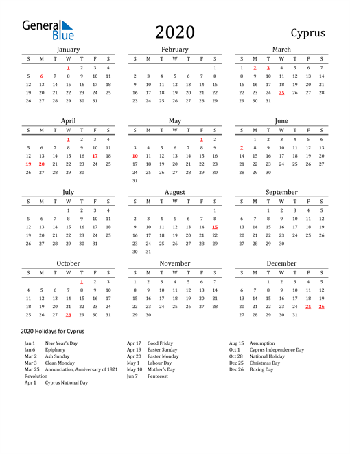 Image of 2020 Printable Calendar Classic for Cyprus with Holidays