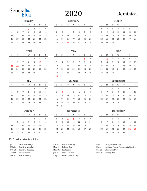 Image of 2020 Printable Calendar Classic for Dominica with Holidays