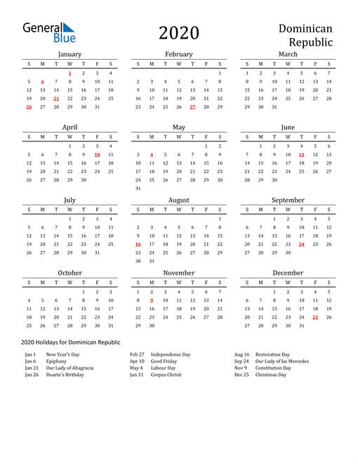 Dominican Republic Holidays Calendar for 2020