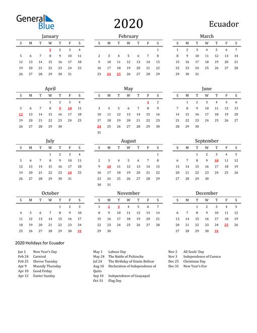 Image of 2020 Printable Calendar Classic for Ecuador with Holidays