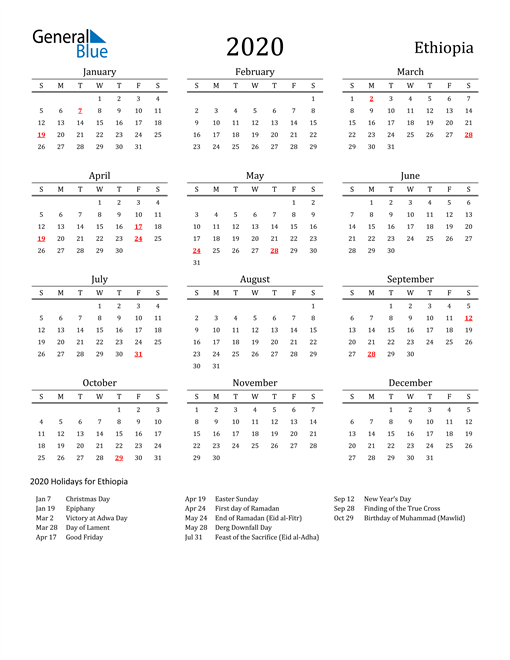 Image of 2020 Printable Calendar Classic for Ethiopia with Holidays
