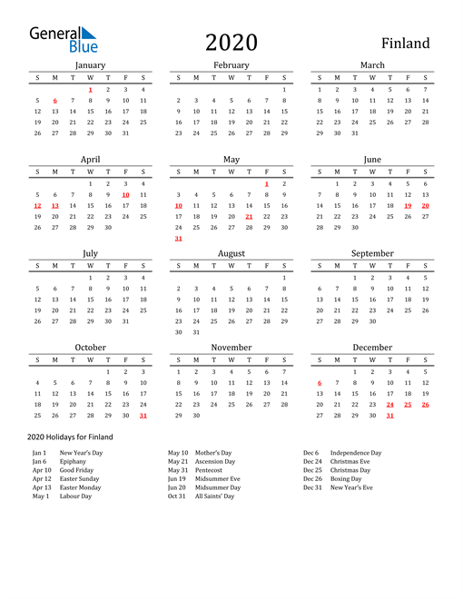 Image of 2020 Printable Calendar Classic for Finland with Holidays
