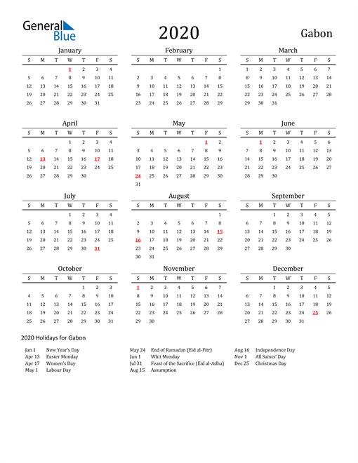 Image of 2020 Printable Calendar Classic for Gabon with Holidays