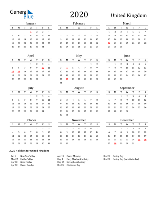 United Kingdom Holidays Calendar for 2020