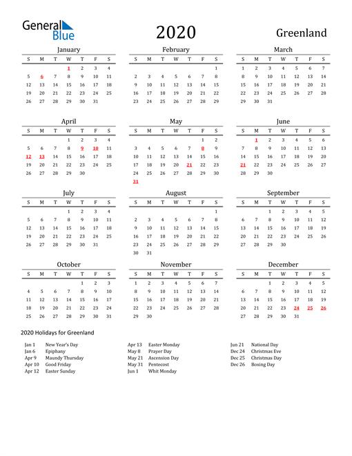 Greenland Holidays Calendar for 2020