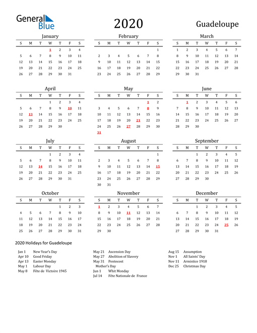 Guadeloupe Holidays Calendar for 2020