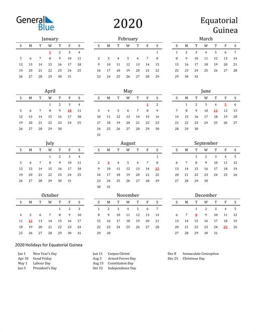 Equatorial Guinea Holidays Calendar for 2020