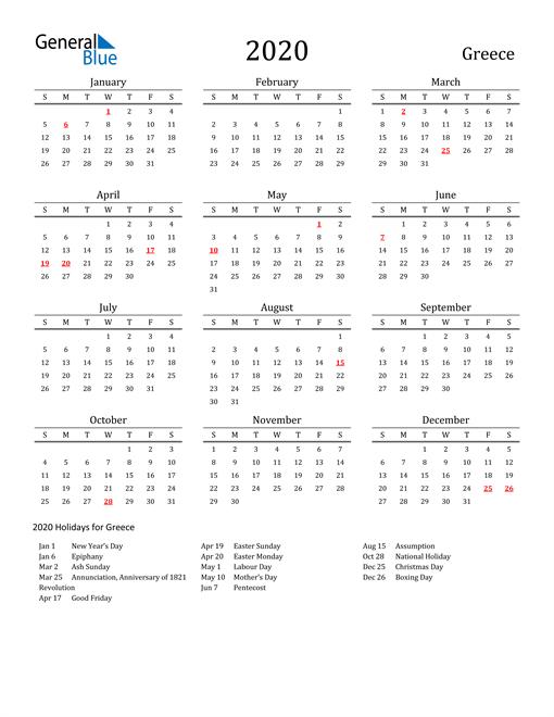 Greece Holidays Calendar for 2020
