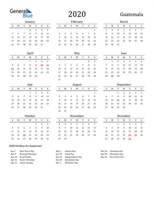 Image of 2020 Printable Calendar Classic for Guatemala with Holidays
