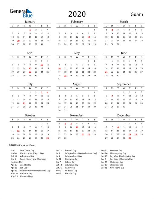 Guam Holidays Calendar for 2020