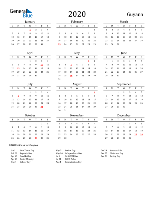 Image of 2020 Printable Calendar Classic for Guyana with Holidays