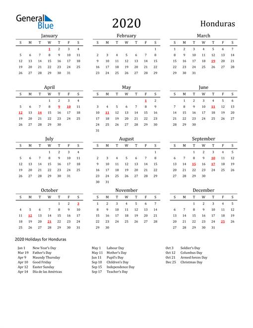 Honduras Holidays Calendar for 2020
