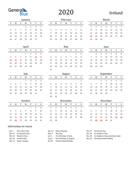 Image of 2020 Printable Calendar Classic for Ireland with Holidays
