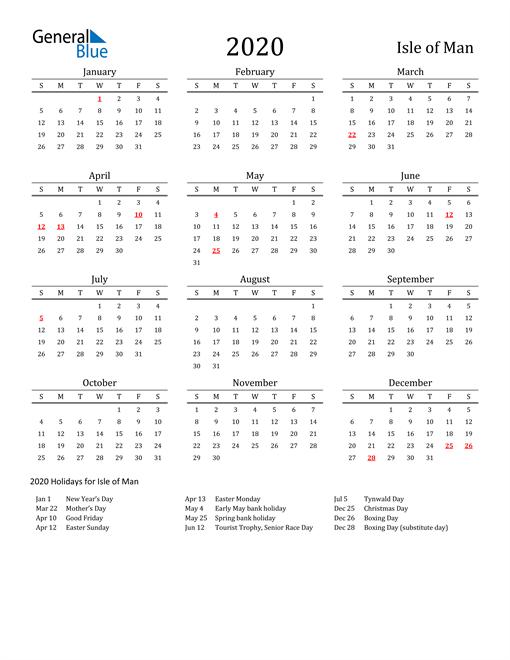 Isle of Man Holidays Calendar for 2020
